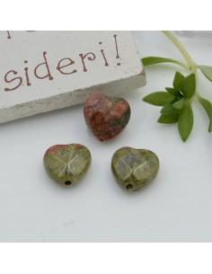 Pietre dure a forma di cuore unakite sfaccettata 10 mm 2 pz per orecchini bracciali collana per le tue creazioni!!!