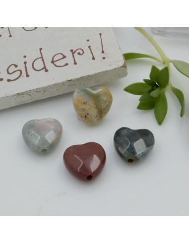 Pietre dure a forma di cuore agata indiana sfaccettata 10 mm 2 pz per orecchini bracciali collana per le tue creazioni!!!
