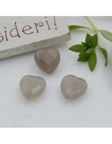 Pietre dure a forma di cuore quarzo grigio sfaccettata 10 mm 2 pz per orecchini bracciali collana per le tue creazioni!!!