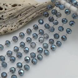 Catena rosario con cristalli 3 x 4 mm 50 CM base argento in acciaio colore zaffiro per le tue creazioni!!!