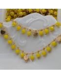 Catena Rosario con cristalli 4 mm giallo con cuore base oro chiaro in ottone 50 cm per bigiotteria