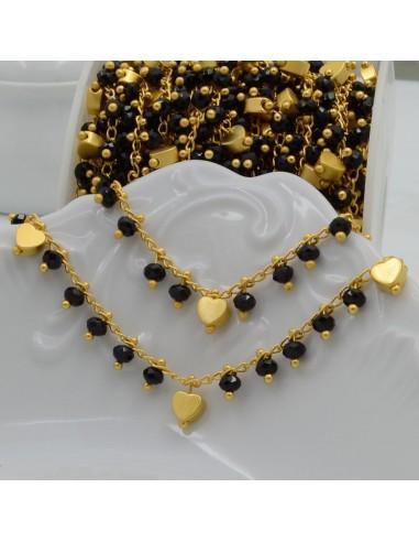 Catena Rosario con cristalli 3 mm nero con cuore base oro opaco in Ottone 50 cm per bigiotteria