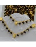 Catena Rosario con cristalli 3 mm nero con cuore base oro in Ottone 50 cm per bigiotteria