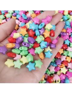 stelle di plastica colorato 6 x 12 mm mm con foro 1.5 mm mix 200 pz per le tua creazione