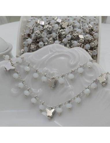 Catena Rosario con cristalli 3 mm bianco con farfalla base argento in Ottone 50 cm per bigiotteria