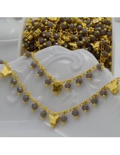 Catena Rosario con cristalli 3 mm grigio con farfalla base oro in Ottone 50 cm per bigiotteria