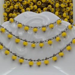Catena Rosario con cristalli 3 mm colore giallo base canna di fucile in Ottone 50 cm per bigiotteria