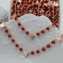 Catena Rosario con cristalli 3 mm rosso con farfalla base oro rosa in Ottone 50 cm per bigiotteria