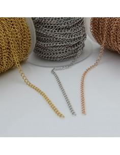 Catena grumetta in acciaio vari colori 3 mm 1 mt per bigiotteria orecchini collane e bracciali fai da te