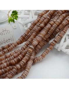 perle rondella in madreperla col beige liscio 6 mm 40 cm per i tuoi gioielli