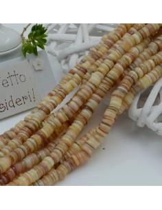 perle rondella in madreperla col beige chiaro liscio 6 mm 40 cm per i tuoi gioielli