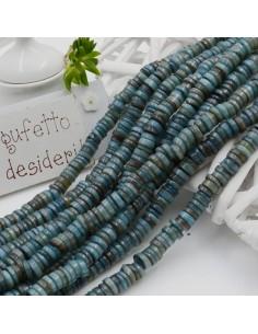 perle rondella in madreperla col blu liscio 6 mm 40 cm per i tuoi gioielli