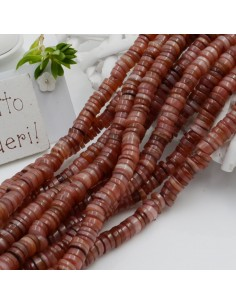 perle rondella in madreperla col Castagno scuro liscio 6 mm 40 cm per i tuoi gioielli