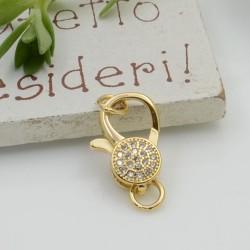 Moschettone oro con zirconi 15 x 10 mm 1 pz in ottone per le tue creazioni!!!