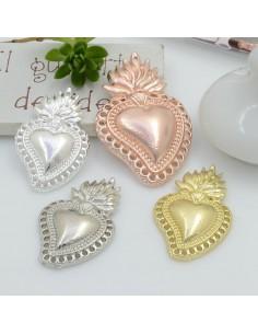 Ciondolo cuore sacro zama con fori varie misure 1 pz per le tue creazioni alla moda!!!