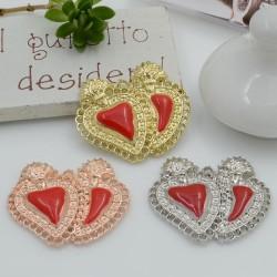 Ciondolo cuore sacro zama smaltato rosso con fori 24 x 28 mm 1 pz per le tue creazioni alla moda!!!