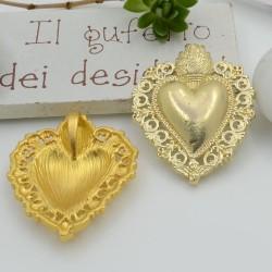 Ciondolo cuore sacro zama 34 x 29 mm 1 pz per le tue creazioni alla moda!!!