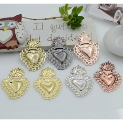 Ciondolo cuore sacro con fori in ottone 30 x 20.5 mm 1 pz per le tue creazioni alla moda!!!