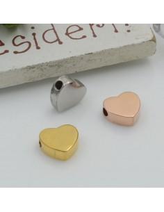 Distanziatore perline in acciaio inossidabile cuore piatto 7 x 8 mm foro 1.8 mm 1 pz per le tue creazioni!!