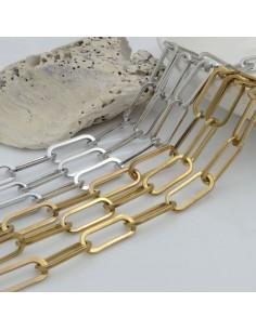 Catena rettangolare in acciaio inossidabile con filo piatta e saldata 16 x 7 mm 50 cm per gioielli fai da te.