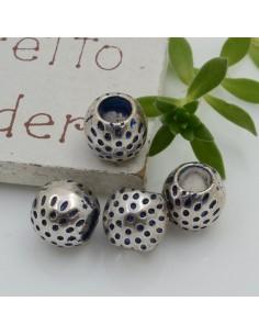Distanziatori foro largo con fantasia 8 x 9.5 mm 4 pz colore blu base argento per bracciale collana per le tue creazioni!!