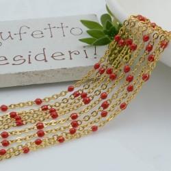 Catene in acciaio con palline smaltate rosso catena ovalina base oro 1 mt per orecchini, collane e bracciali fai da te