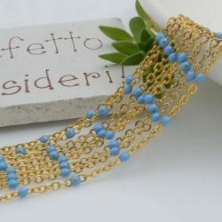 Catene in acciaio con palline smaltate turchese catena ovalina base oro 1 mt per orecchini, collane e bracciali fai da te