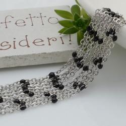 Catene in acciaio con palline smaltate nero catena ovalina base argento 1 mt per orecchini, collane e bracciali fai da te