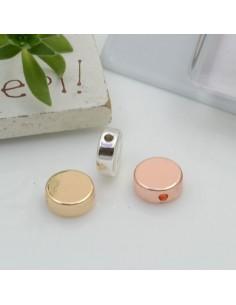 Distanziatori perline tondo piatto in ottone 8 mm foro 1 mm 2 pz per le tue creazioni!!