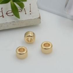 Distanziatori a palline tubolare in ottone liscio oro 4 x 6 mm foro 3 mm 2 pz idea per bracciale fai da te
