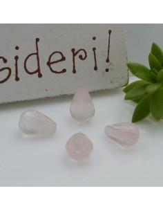 Pietre dure a forma di goccia sfaccettata quarzo rosa 5 x 8 mm 2 pz per le tue creazioni!!!
