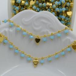 Catena Rosario con cristalli 3 mm turchese con cuore base oro in Ottone 50 cm per bigiotteria