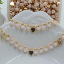 Catena Rosario con cristalli 4 mm panna con cuore base oro chiaro in ottone 50 cm per bigiotteria