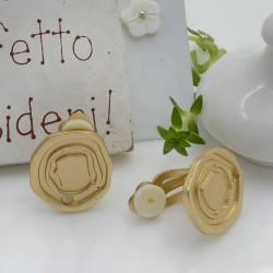 Base orecchini in Zama a Clip colore oro 16 mm per le tue creazioni!!!