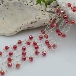 Catena rosario cristalli colore rosso AB 3 mm concatenata filo argento in ottone 50 cm per fai da te
