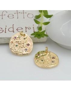 Ciondolo pendente medaglia CON ZIRCONI strass mix 15 x 14 mm 1 pz in ottone per le tue creazioni!!!