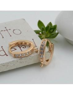 Cerchietti oro forma ovale con strass bianchi con anellini tonde chiuse per ciondolo 12 mm per le tue creazioni alla moda!!