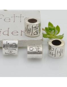 Distanziatori foro largo forma cilindro 9 mm 4 pz colore argento per bracciale collana per le tue creazioni!!