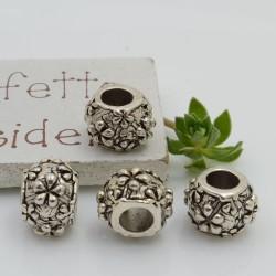 Distanziatori foro largo con fiori 9 x 12 mm 4 pz colore argento per bracciale collana per le tue creazioni!!