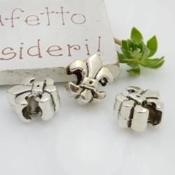 Distanziatori foro largo forma gigli 11 x 13 mm 4 pz colore argento per bracciale collana per le tue creazioni!!