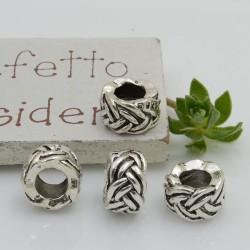 Distanziatori foro largo con fantasia 6 x 10 mm 4 pz colore argento per bracciale collana per le tue creazioni!!