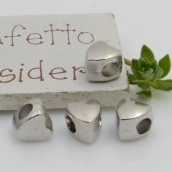 Distanziatori foro largo forma cuore 9 x 8 mm 4 pz colore argento per bracciale collana per le tue creazioni!!
