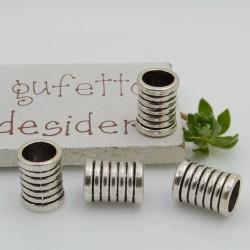 Distanziatori foro largo forma cilindro 12 x 9 mm 4 pz colore argento per bracciale collana per le tue creazioni!!