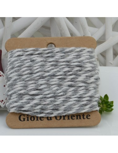 Filo di cotone Bicolor intrecciato bianco e grigio spessore 2mm 10MT per le tue creazioni alla moda!!