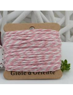 Filo di cotone Bicolor intrecciato bianco e rosa spessore 2mm 10MT per le tue creazioni alla moda!!