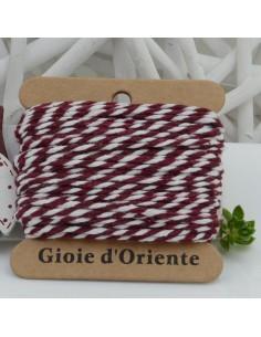 Filo di cotone Bicolor intrecciato bianco e bordeaux spessore 2mm 10MT per le tue creazioni alla moda!!