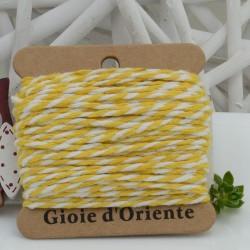 Filo di cotone Bicolor intrecciato bianco e giallo spessore 2mm 10MT per le tue creazioni alla moda!!