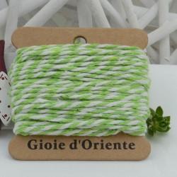 Filo di cotone Bicolor intrecciato bianco e verde chiaro spessore 2mm 10MT per le tue creazioni alla moda!!