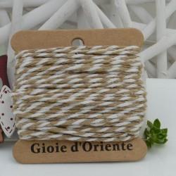 Filo di cotone Bicolor intrecciato bianco e beige spessore 2mm 10MT per le tue creazioni alla moda!!
