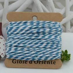 Filo di cotone Bicolor intrecciato bianco e azzurro spessore 2mm 10MT per le tue creazioni alla moda!!